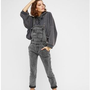 Free People Gray Washed Denim Fitted Overalls